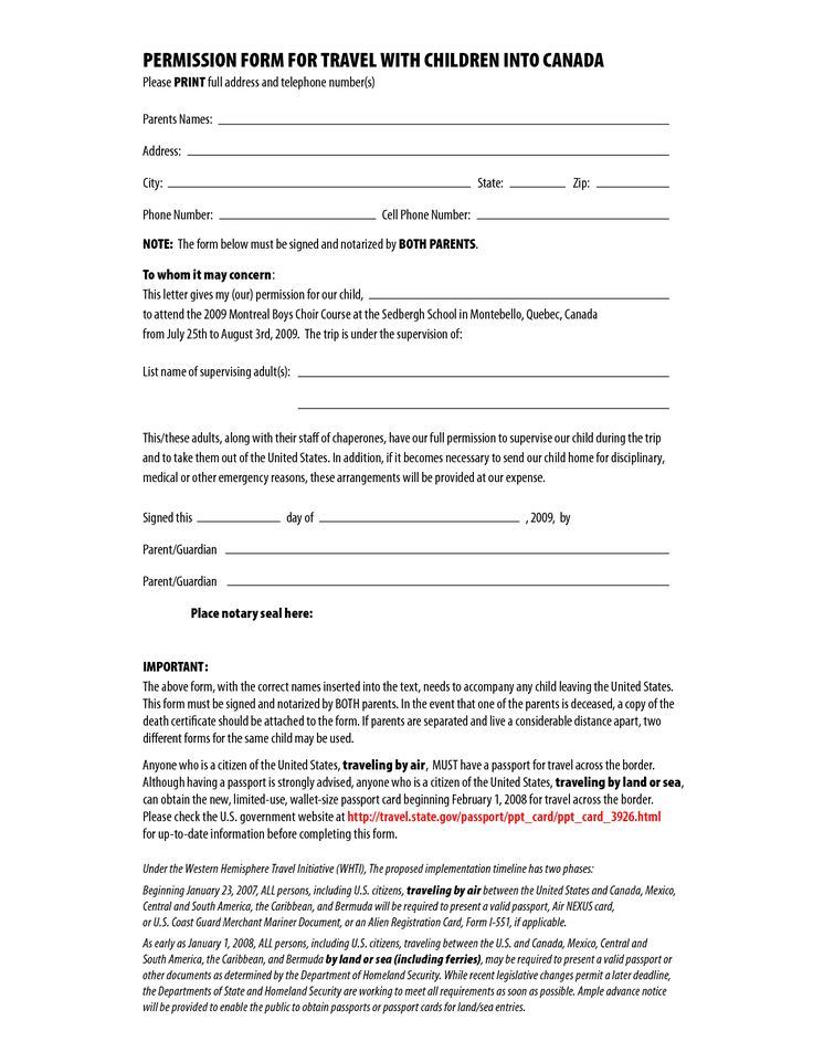 Permission Form For Travel With Children Into Canada By