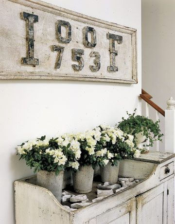 Vintage Wooden Sign: Dry Sink, Interior, Inspiration, Shabby Chic, Vintage, Decorating Ideas, White, Flower