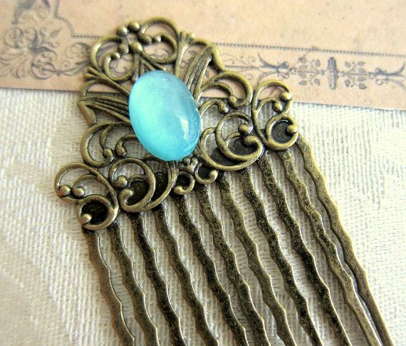 Turquoise Hair Comb Blue Vintage Inspired Hair Comb Aqua Head Piece Bridesmaid Hair Comb Victorian LOTR Hair Comb Lord of the Rings on Etsy, $12.00