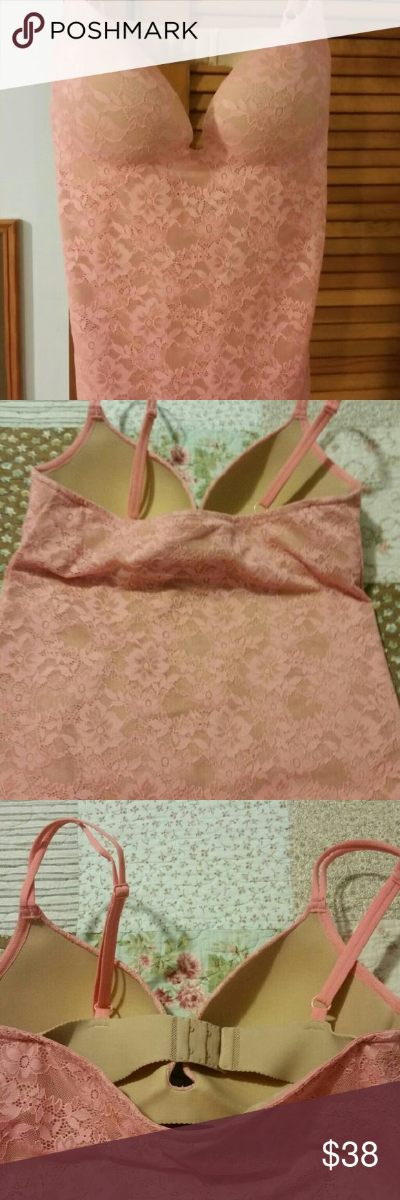 NWOT Victoria Secret  push up Cami-tank  Sz 36C Beautful Peach lace style Victoria Secret cami  with built in puch up bra- 36C. Can be worn alone or under a blouse or blazer. Tried on but never worn.  New Victoria's Secret Intimates & Sleepwear Chemises & Slips
