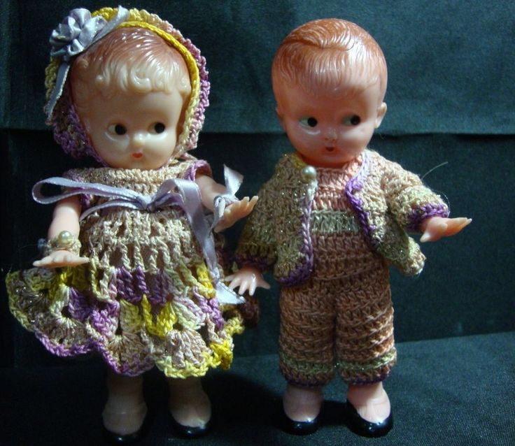 "Vintage Knickerbocker Boy & Girl 6"" Hard Plastic Rattle"