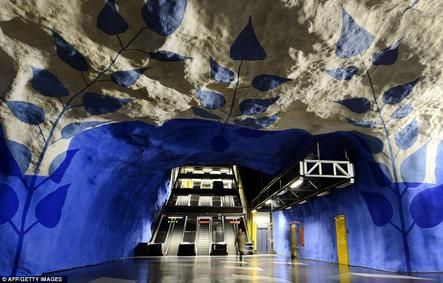 Underground art in Stockholm, Sweden.: Artists, Metro Stations, Subway Art, Subway Stations, Stockholm Sweden, Stockholm Subway, Art Exhibitions, Tcentralen, Design