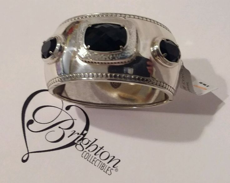 Brighton Blessed Hinged Bangle Bracelet Black Swarovski Crystals NWT $98 #Brighton #Bangle