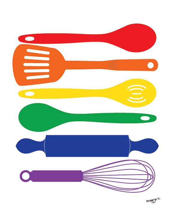 Kitchen Print poster, art for kitchen, colorful kitchen wall decor, Food print, Kitchen Happiness - Spatula Spoon Whisk Rolling Pin