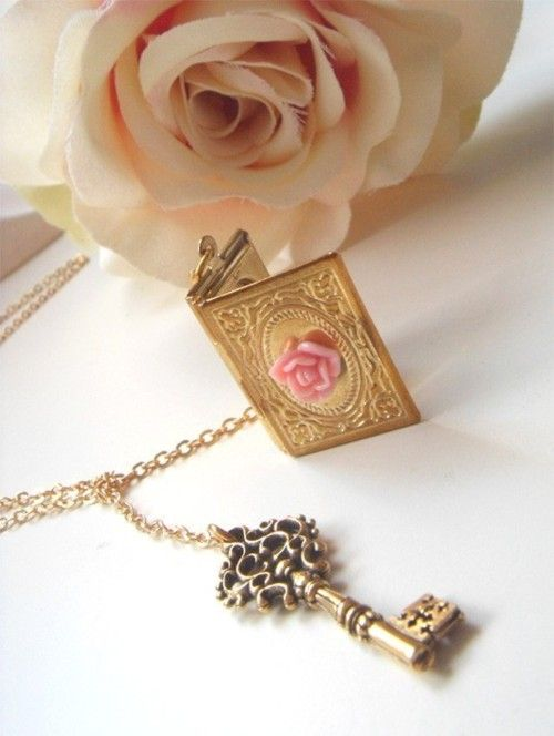Key and book locket once upon a time charm