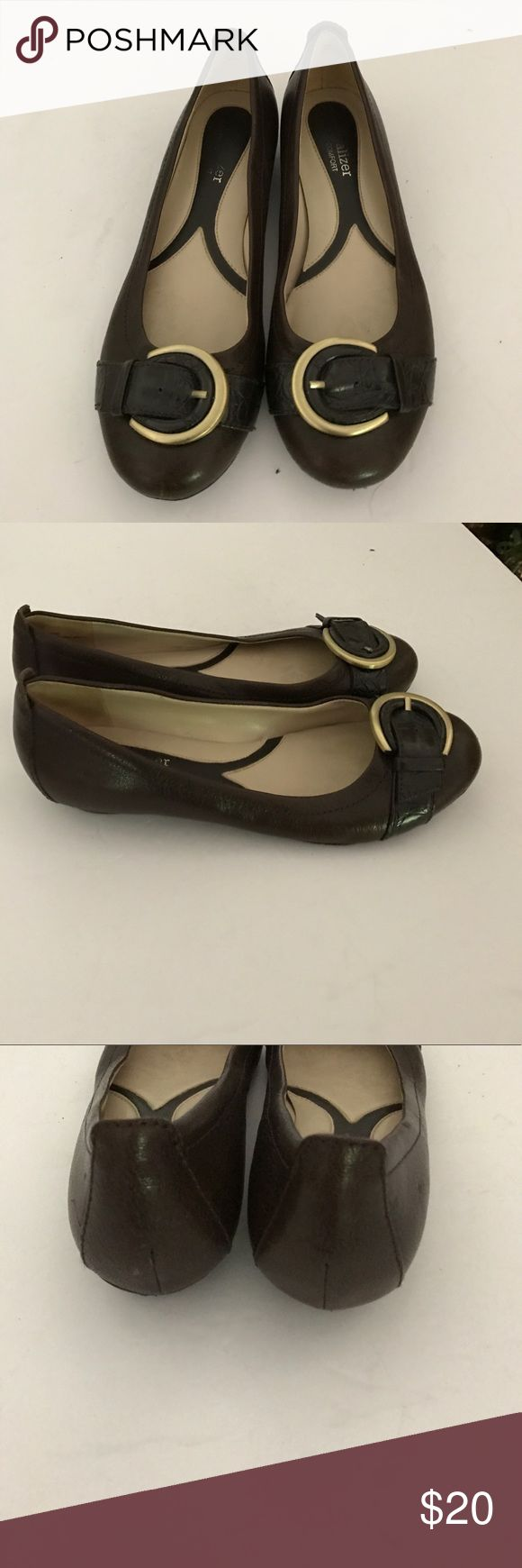 Naturalizer brown black leather loafer 5.5 slip on Super comfy and great versatility  casual  or work brown and black tiny heel gold faux buckle design Naturalizer Shoes Flats & Loafers