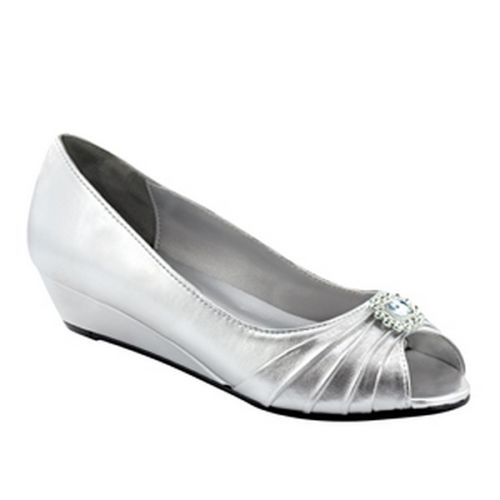 Anette Silver Low Heel Wedge P Toe Womens Dress Wide Width Shoes In Clothing Accessories Women S Heels