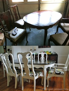 Dining Table Upcycle. A twenty dollar beat up Craig's list find made beautiful with Annie Sloan paint and Miss Mustard Seed wax!