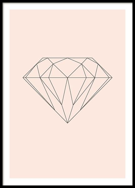 Graphic pink poster with a diamond in a geometric design. We have many similar diamond prints in our selection, so you will most likely find one that fits your style. www.desenio.co.uk