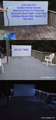 Movie Time! How To Make A Low Cost Outdoor Movie Screen. Free DIY Projector Screen Frame Instructions. Birthday Party, Backyard Movie Night, Home Drive-In Theater, Cinema, Outdoor Sports Screen, Summer Pool Party... Made In USA Projection Screen Frames And Accessories From www.b-aDeals.com #outdoorMovieScreen
