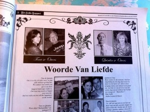 Vintage Trou Uitnodigings - Afrikaans Wedding Invitation with loving words of wisdom and well-wishes for engaged couple Quintin and Tina!  #newsfavor #wedding #newspaper #favor #vintage #trou uitnodiging #uitnodiging