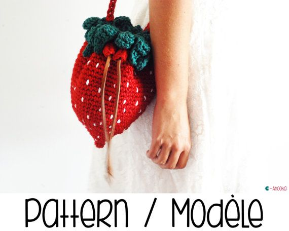 Strawberry crochet bag and purse pattern  DIY  by Ahookashop