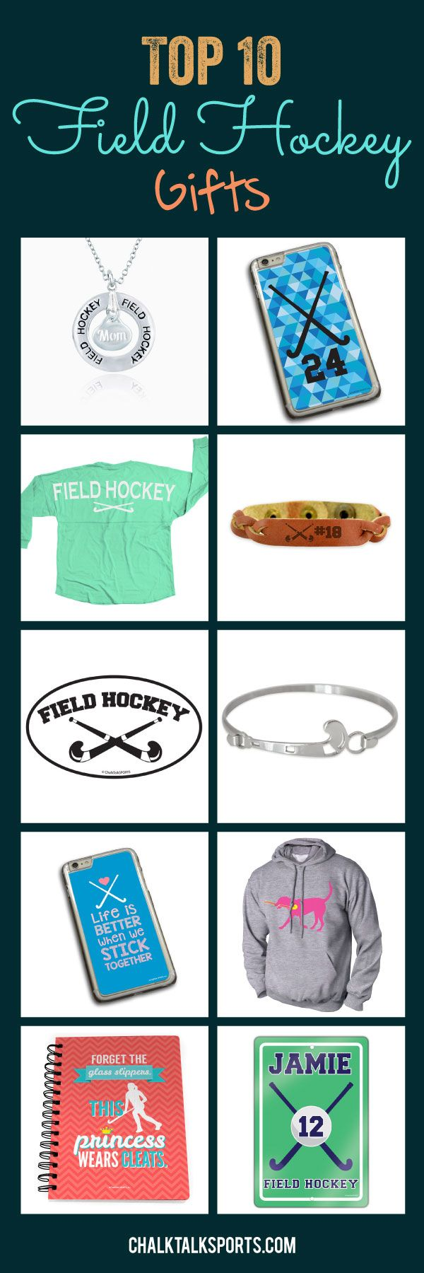 Start thinking about end of season gifts with our top 10 field hockey gifts for girls! Personalize our products to create a special gift for your favorite field hockey player. We offer statement jersey tees, beautiful jewelry, notebooks, phone cases and so much more that field hockey players and field hockey fans will love! Only from ChalkTalkSPORTS.com!