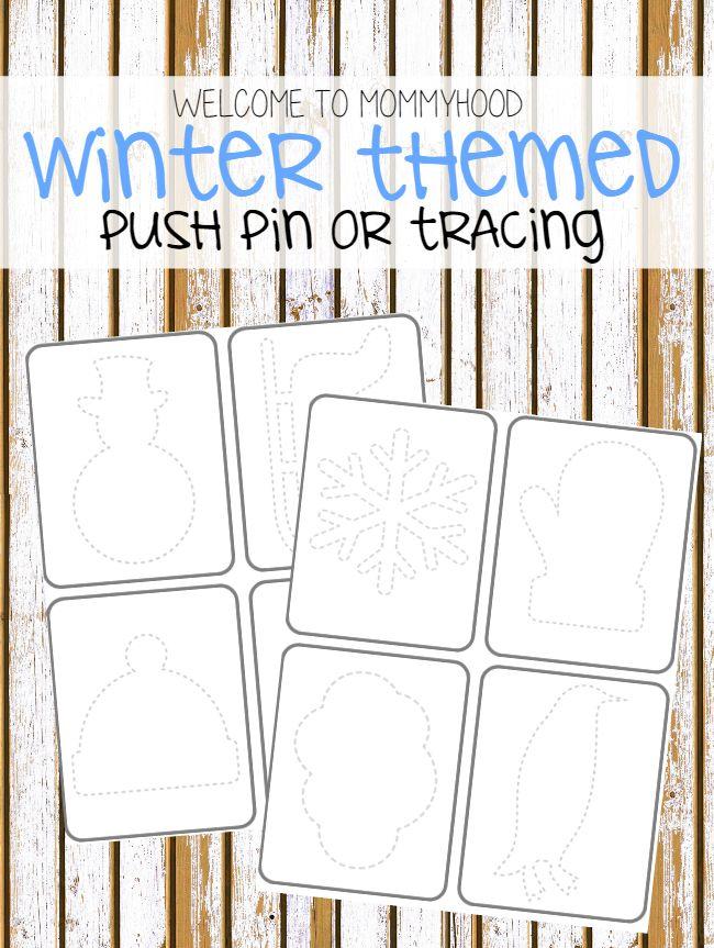 Winter activities: winter push pin or tracing cards by Welcome to Mommyhood #winteractivities, #totlabs, #preschoolactivities, #montessori