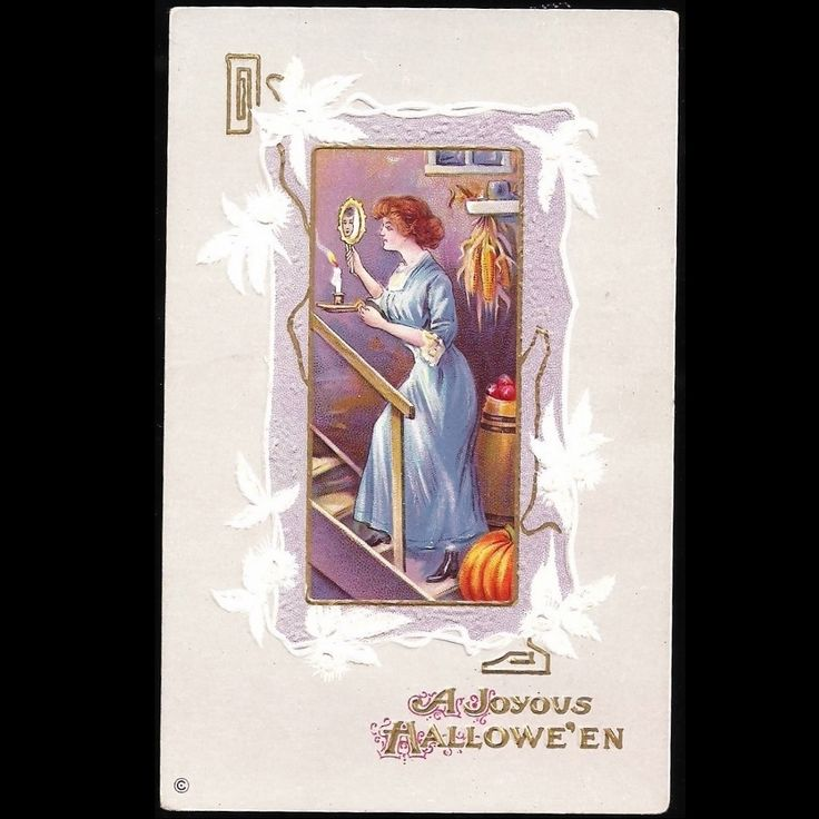 Halloween Postcard Series 345 F Embossed Pretty Woman With Candle & Mirror, Pumpkins, Corn at Tannery Creek Antiques.