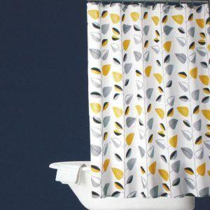 Yellow Gray And White Shower Curtain