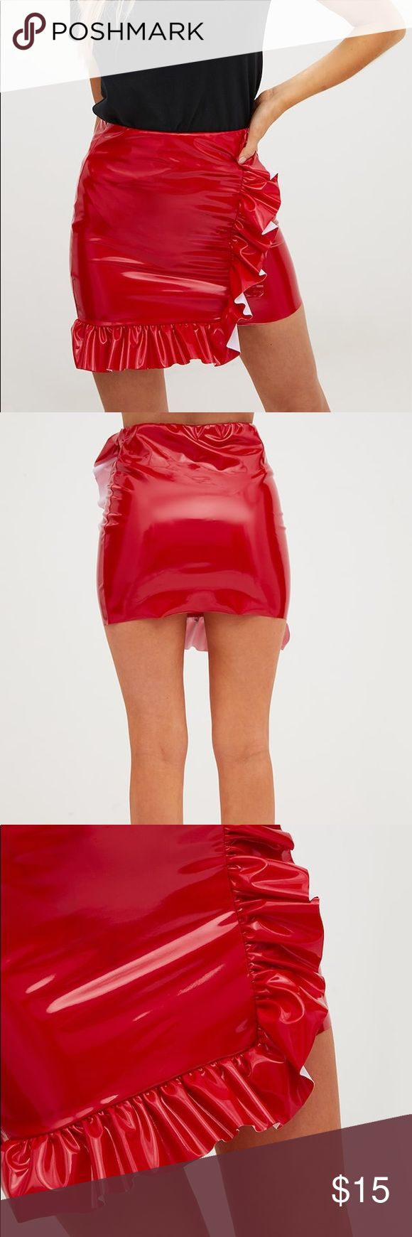PLT Red Petite PU Frill Front Vinyl Mini Skirt Will be for sale Friday, Dec 1, 2017! Brand new! Perfect condition! Only worn once for 20 minutes for professional photo shoot! Vinyl texture. Note: This skirt is made for petite women, 5 ft 4 and shorter. Model is 5 ft 4. Thigh skimmer mini length. Length approximately 17 inches. Spot clean only. Super cute with my red faux fur coat (see my closet 💕) price is firm! Pretty Little Thing Skirts Mini