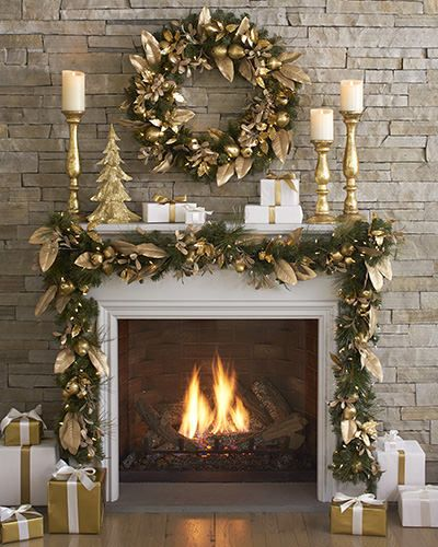 X LR mantle- Golden Pear Decorated Wreath and Garland | Balsam Hill