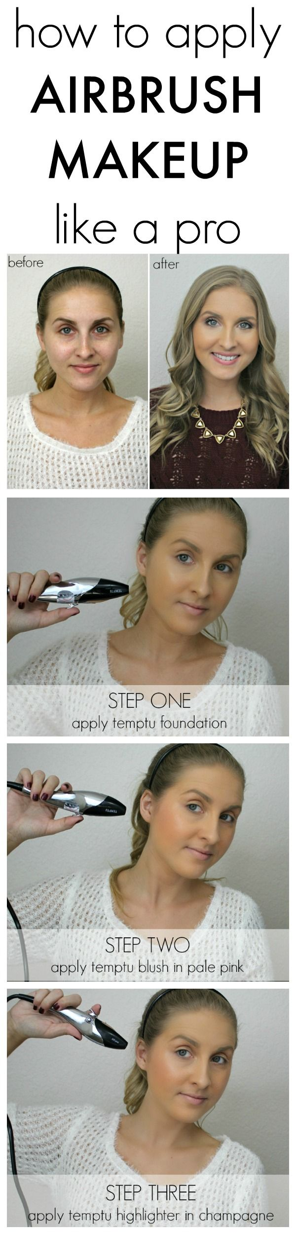how to apply airbrush makeup like a pro with @temptu!   #TEMPTUDaynNight