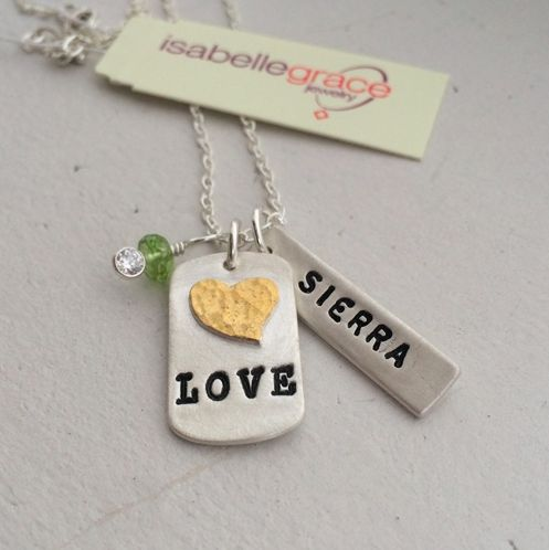 """Anniversary Tag Necklace - Get 25% OFF with code """"VP25"""". A stunning Valentine's Day gift for her, this necklace ws created to commemorate your wonderful wedding day or the day you met your sweetie, this fine (.999) silver tag features a 22 kt gold heart tag stamped with your wedding/anniversary date or word of up to 5 characters. Also has a double-sided Name Bar featuring both of your names."""