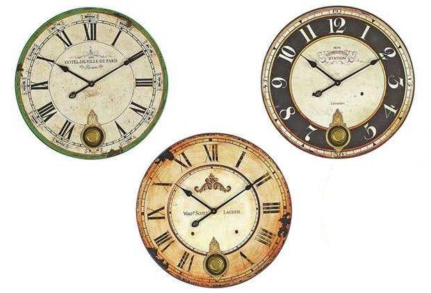 Wood Wall Clock With Pendulum | Round Wall Clock