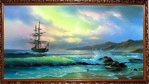Корабль у берега моря - Морской пейзаж <- Картины маслом <- Картины - Каталог | Универсальный интернет-магазин подарков и сувениров