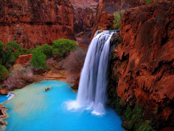 LES CHUTES D'HAVASUPAI, GRAND CANYON La chute d'eau se déverse dans une piscine naturelle riche en carbonate de calcium ce lui qui donne sa couleur turquoise intense.
