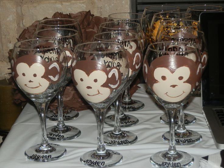 Jungle Theme Baby shower! It's A Boy! Wine Glasses, Monkey