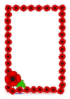 Remembrance Day poppy A4 page borders (SB1778) - SparkleBox