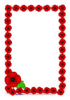 Remembrance Day poppy A4 page borders (SB1778) - SparkleBox