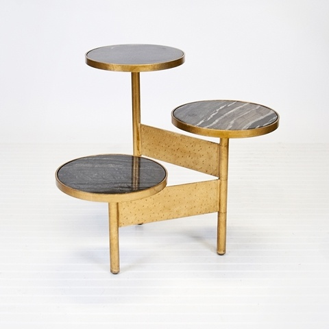 Colin Gold Leafed Side Table with Black Marble Tops by Worlds Away COLIN GB