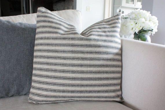 Tan, Black 16x16 Grain Sack, Feed Sack Style Pillow Cover, Farmhouse Pillow, Rustic Throw Pillows, Burlap Like Pillow, Vintage Throw Pillow