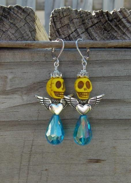 Skull Angle Earrings by LaCraftyVida on Etsy