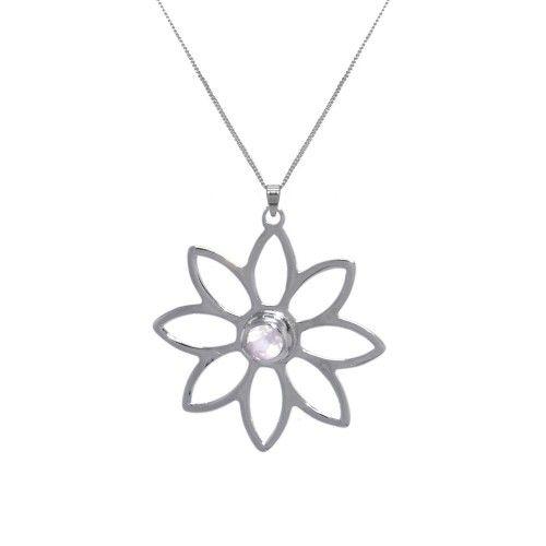 Namaqua Daisy Flower Necklace • Rose Quartz • Sterling Silver