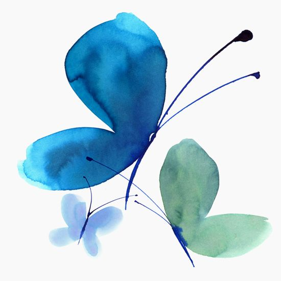 Margaret Berg Art: Blue Butterfly Trio