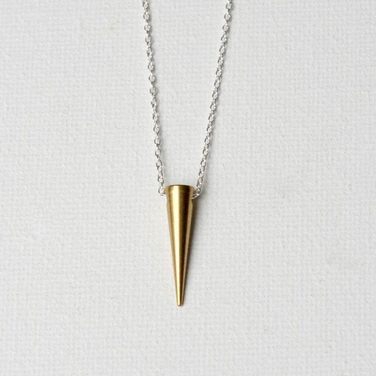 Gold Brass Spike Necklace, Modern Minimal Jewelry, Mixed Metal Jewellery, Modern Brass Jewelry, Layering Necklace, Minimal Necklace by juliegarland on Etsy https://www.etsy.com/listing/223325097/gold-brass-spike-necklace-modern-minimal #GoldJewelleryModern