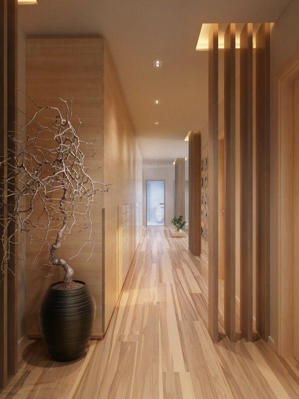 a single and uniform trim can make hallways seem bigger - 10 Easy tips to make your hallway look bigger