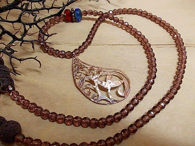 Glass beads, lava & roz gold element <3