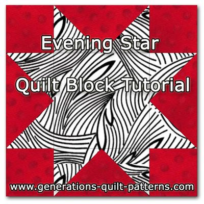 Evening Star quilt block instructions in 5 sizes. One of the many blocks from our Free Quilt Block Patterns Library