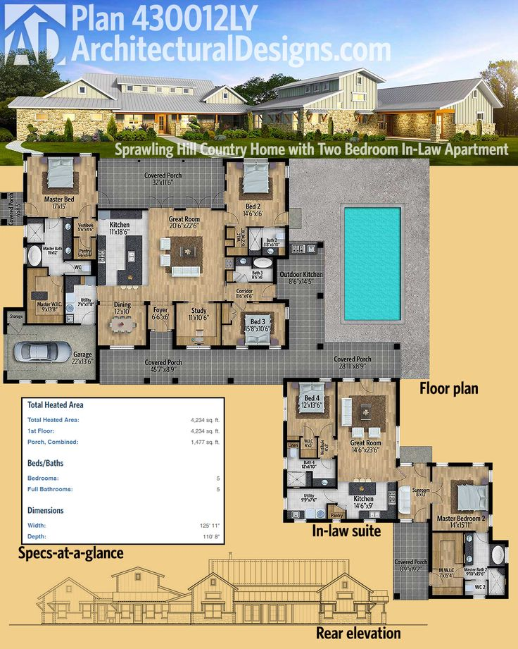 Architectural Designs Hill Country House Plan 430012LY Has Its Own In Law  Suite! The