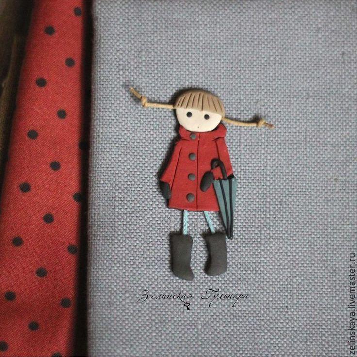 Купить Натали. Девочка с зонтом. Брошь - темно-красный, красный, брошь девочка