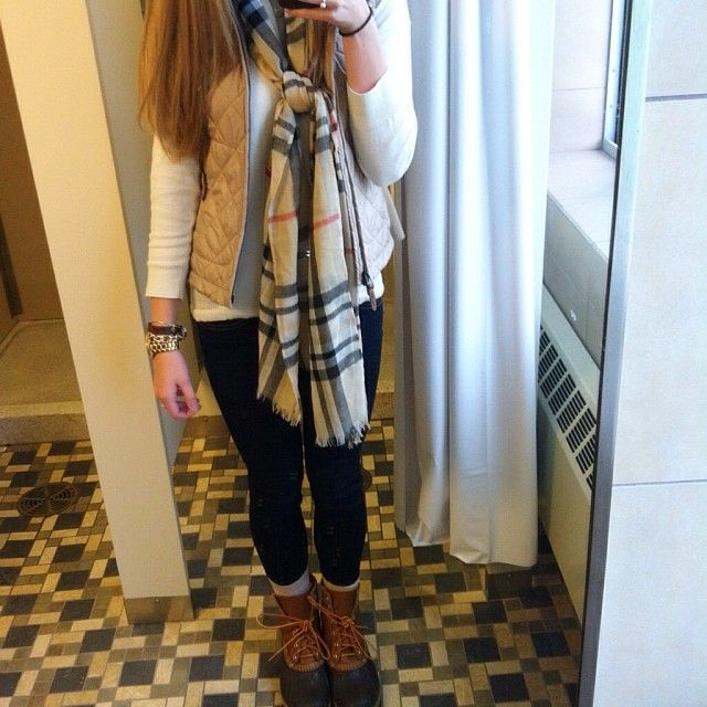 princess-emmyy:  Ralph Lauren vest, Burberry scarf and LL Bean boots. I'm a happy girl :)