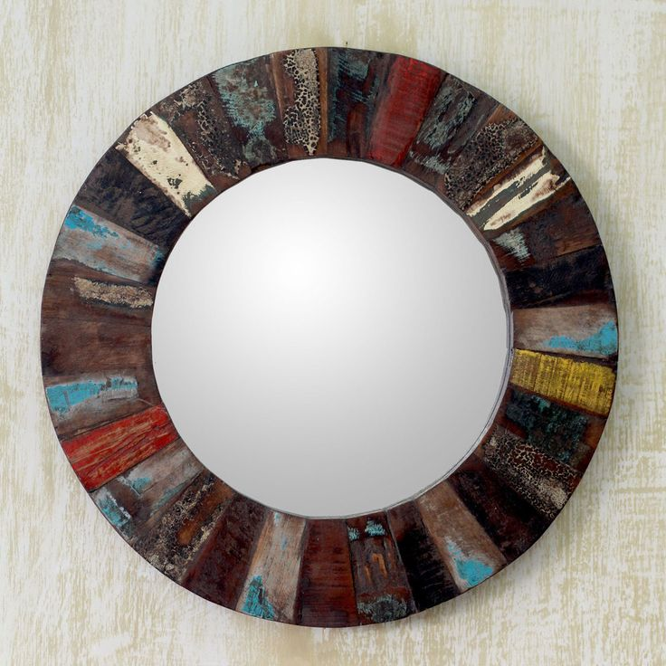 ancient legacy brown reclaimed wood with weathered red white blue and yellow paint unique decor accent round wall mirror india by novica