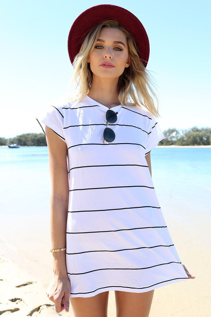 White t shirt dress outfit - What To Pack For A Stylish Tropical Vacation Striped Shirt Dresstee