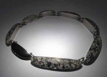 Jeremy Leeming - Stone Island Necklace - sterling silver necklace with dalmation granite and basalt