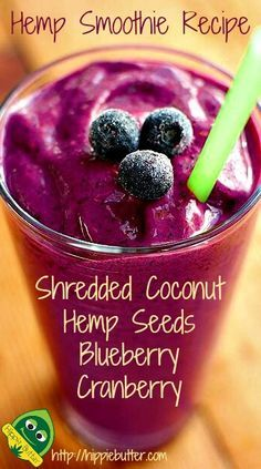 Hemp Smoothie Recipe; Shredded Coconut, Hulled Hemp Seeds, Blueberry and Cranberry.