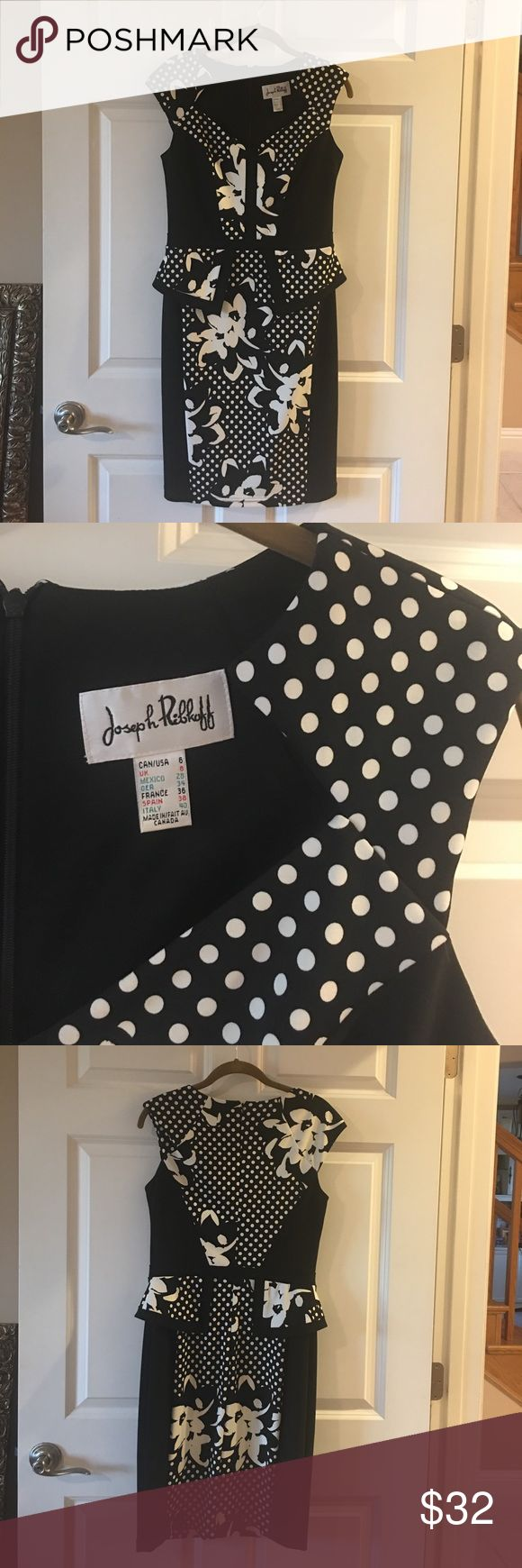 Black and white professional attire dress Perfect for an afternoon tea or a business presentation or power meeting. Joseph Ribkoff quality cut and material make this a memorable and classy pick! True size 6. joseph ribkoff  Dresses Midi