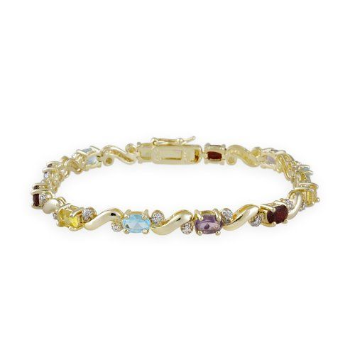18K Gold ?ber Sterling Silber Multi Edelstein & Diamant Akzent Tennis Armband | Your #1 Source for Jewelry and Accessories