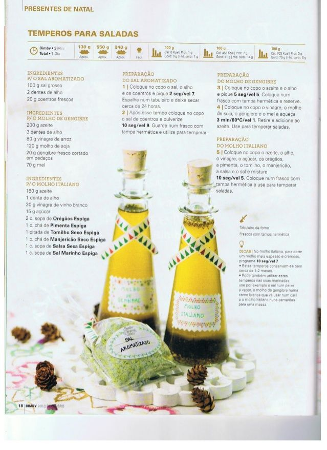 Azeite e sal aromatizado: revista bimby Natal 2013