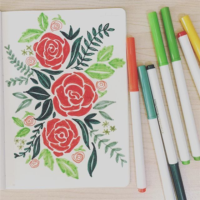 #Floral #doodle. It's been a while since I last used my #Crayola SuperTips.